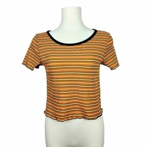 4/$30* Caution To The Wind Stripe Lettuce Trim Top